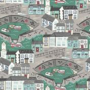 Lewis & Irene Harbour Side - 4931 - Harbour With Sea Green Sea - A175.2 - Cotton Fabric